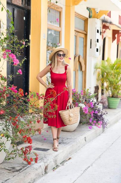 suburban faux-pas blogger dress hat sunglasses jewels bag shoes spring outfits basket bag red dress summer dress summer outfits