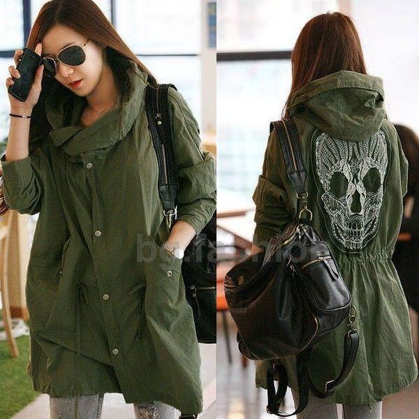 Sz 8-22 Retro Skull Back Coat Military Jacket Loose Plus Trench Hooded Windbreak | eBay