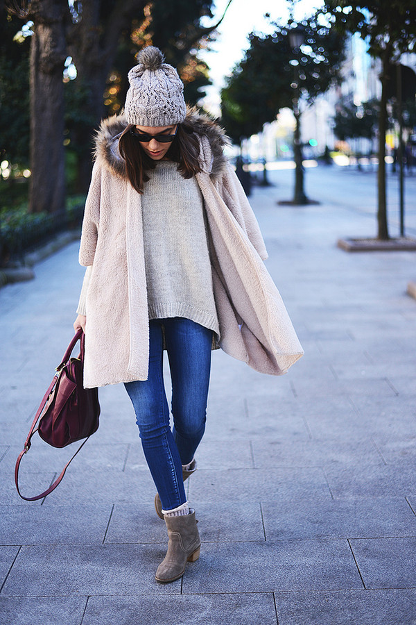 the fashion through my eyes jeans coat hat sweater shoes bag