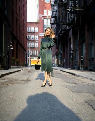 the classy cubicle blogger belt cardigan pants shoes dress handbag midi dress pumps