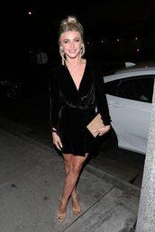 dress,little black dress,black dress,mini dress,sandals,velvet dress,velvet,julianne hough,plunge dress