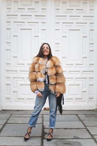 mypeeptoes blogger coat shirt underwear jeans shoes jacket bag jewels fur coat winter outfits fringed bag pumps