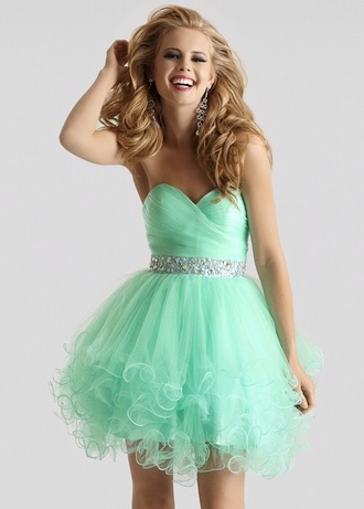 dress mint dress prom dress tulle skirt party dress