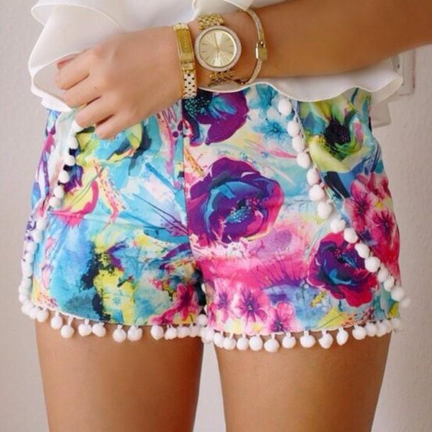 shorts colorful shorts elegant fashion classy cute