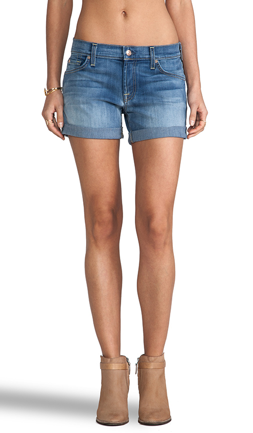 7 For All Mankind Mid Roll Up Short in Light Cobalt Blue from REVOLVEclothing.com