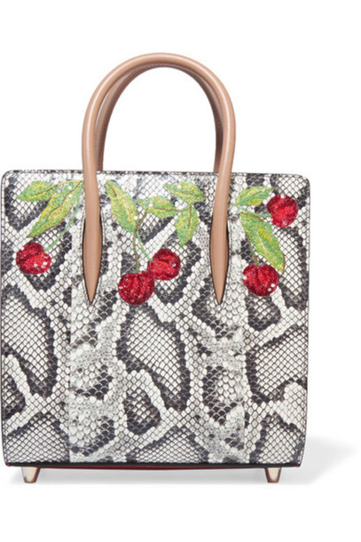 833354e8851 Christian Louboutin - Paloma Small Embellished Elaphe And Metallic  Textured-leather Tote - Snake print