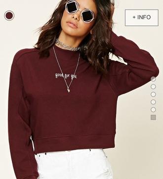 sweater sweatshirt sunglasses burgundy sweater forever 21