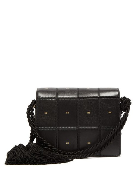 satchel leather print black bag