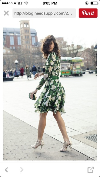 dress green dress floral dress fashion prom dress homecoming dress style trendy green shoes silver sandals sandals summer dress summer outfits