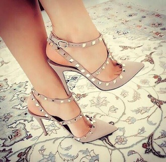 shoes studded heels beige shoes