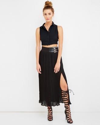 skirt black black skirt slit skirt maxi skirt