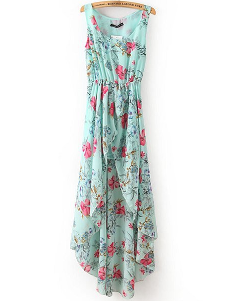Blue floral printed round neck sleeveless high low dress