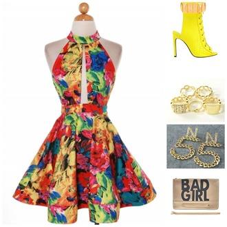 dress floral skater dress ring cuff rings bad girl bag skater dress skater skirt high heels platform heels gold earrings chanel inspired