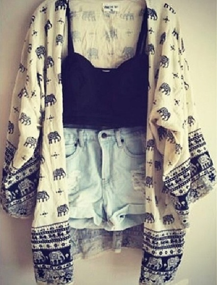 elephant jacket elephants white pattern cream indian shorts tank top elephants, kimono, hipster