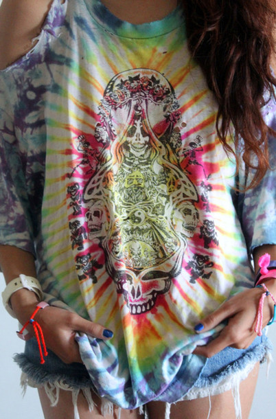 T Shirt Trippy Tie Dye Vans Warped Tour Tie Dye Shirt Wheretoget