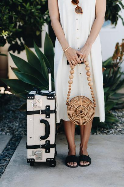 damsel in dior blogger sunglasses hat dress bag round bag slide shoes white dress
