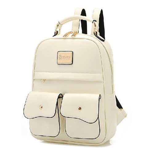 [grxjy5204192]British Style Pure Color Backpack School Bag