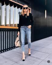 jeans,high waisted jeans,ripped jeans,boyfriend jeans,pumps,handbag,black blouse,chain necklace,black sunglasses