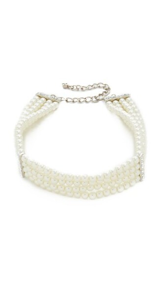 necklace choker necklace silver white jewels
