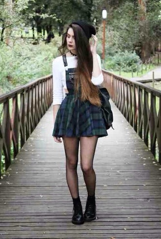 dress dungaree dungarees dungaree dress check tartan plaid flannel cute cool tumblr teenagers girl green black summer spring fall outfits winter outfits hot sun sunny white grunge indie retro rock back to school formal casual