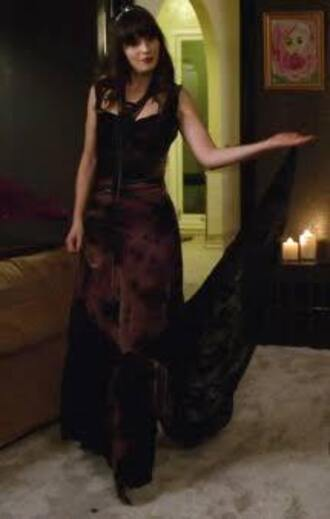 dress zoey deschanel new girl maxi dress black black dress marron floral boho burgundy maroon/burgundy