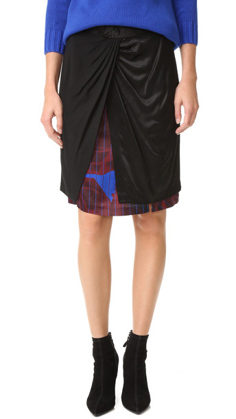 Dkny Mixed Media Skirt With Front Knot - Black Multi