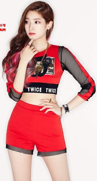 top korean celebrity mesh streetstyle crop tops