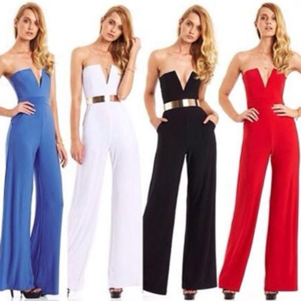 jumpsuit fashion clothes pants blue white black red beautiful women