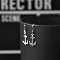 Slim Anchor Drop Silver Earrings | Vavoo