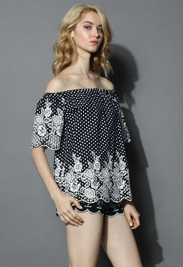 top chicwish off the shoulder polka dots floral embroidered