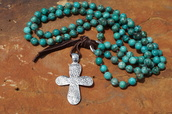 jewels,turquoise necklace,silver cross necklace,western jewelry