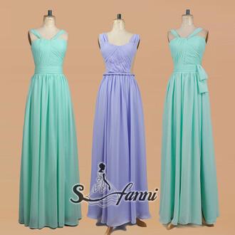dress evening dress prom dress chiffon chiffon dress mint bridesmaid