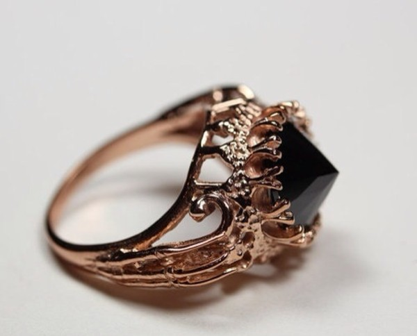 jewels ring gold black goth black crystal