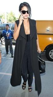 selena gomez,sunglasses,sandals,prada,bag,sleeveless coat,black coat,black jumpsuit,all black everything
