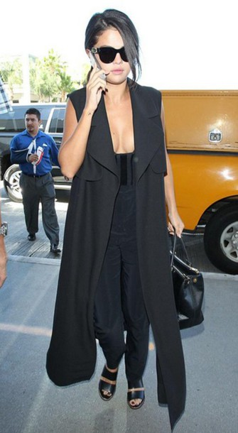 prada black and white handbag - Jumpsuit: selena gomez, sunglasses, sandals, prada, bag ...