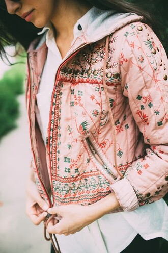 jacket hoodie pink embroidered floral autum spring grey zip