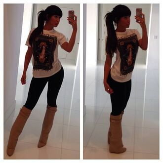 boots beige shoes shoes high heels shirt wedges wedges boots claudia sampedro high heel boots cream high heels tims