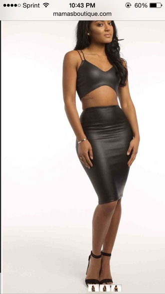 black crop tops skirt love it black leather two-piece sexy dress