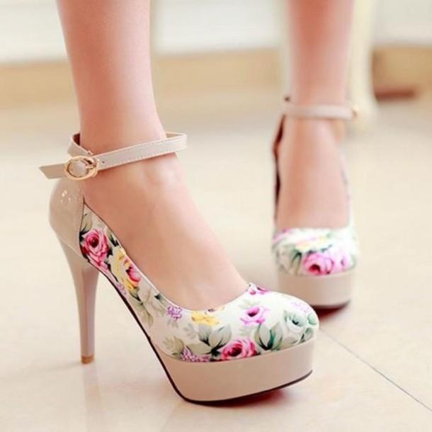 shoes high heels platform shoes platform high heels platform heels floral floral shoes floral high heels floral heels beige ankle strap ankle strap heels ankle strap heels pumps floral
