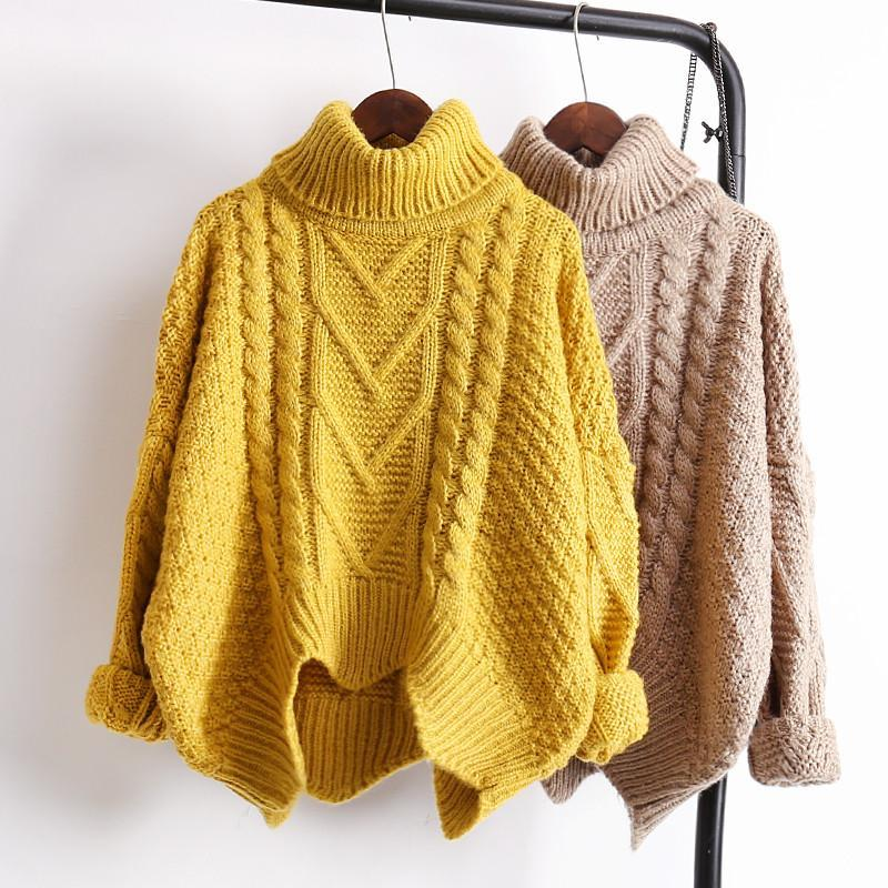 FRONT THICK KNIT BRAID LINES EARTH COLORS WARM WINTER SWEATERS