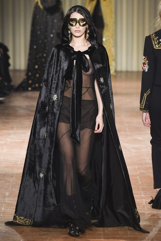dress see through see through dress black dress gown bella hadid model runway cape milan fashion week 2017 fashion week 2017 alberta ferretti