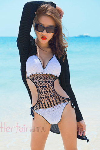swimwear black white black and white black swimwear white swimwear crochet one piece swimsuit