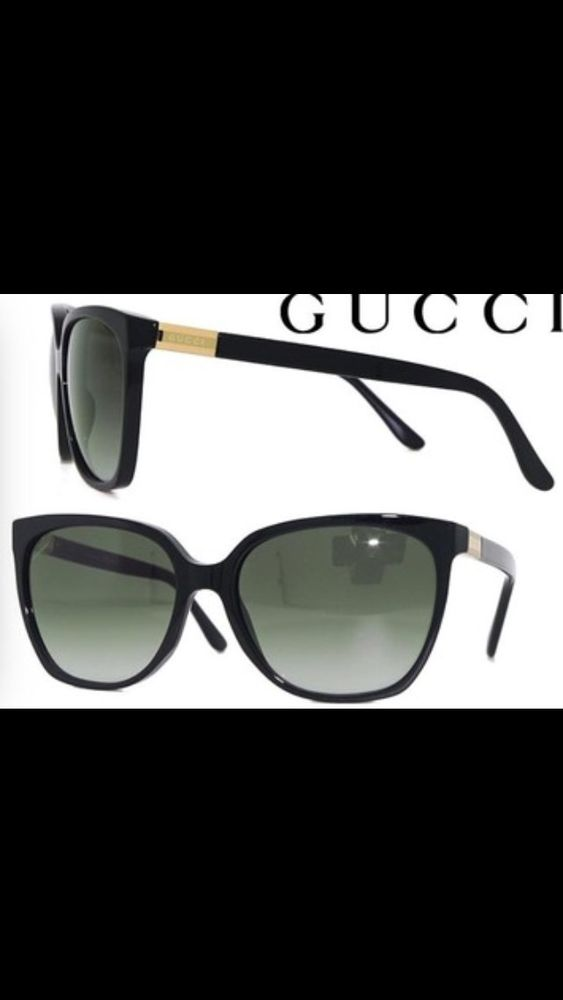 e4d67ba58f4 Gucci Black Cat eye Sunglasses 3502 S With Gold Accent