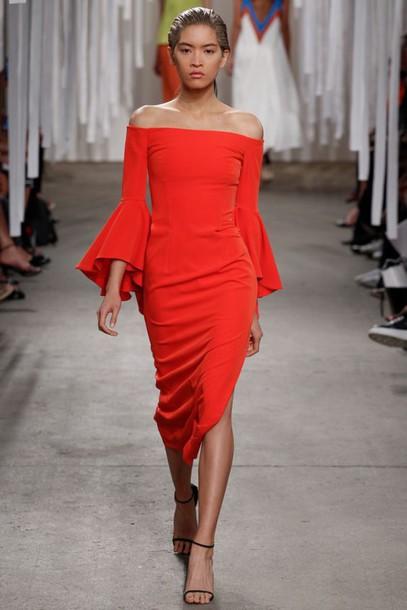 dress bell sleeve dress bell sleeves off the shoulder dress orange dress  midi dress summer dress e3810b962
