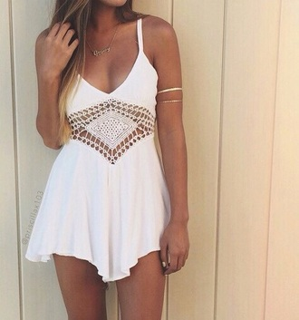dress crochet dress cute dress white dress summer dress indie flowy dress summer spring white floral cute girl fashion coachella
