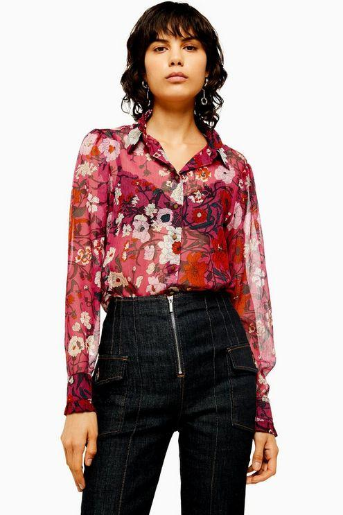 Idol Frill Poppy Floral Print Long Sleeve Shirt - Pink
