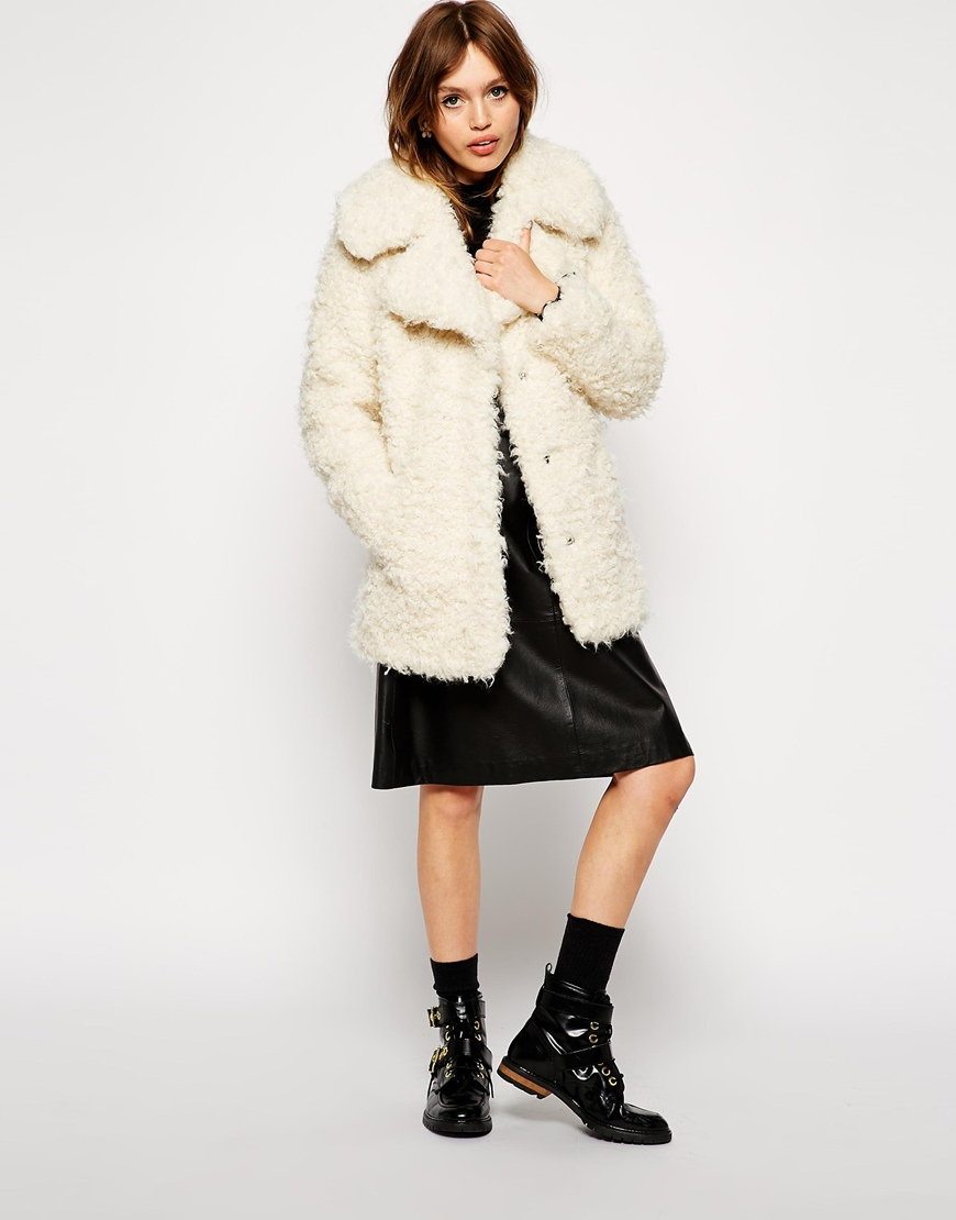 ASOS Faux Curly Fur Coat at asos.com