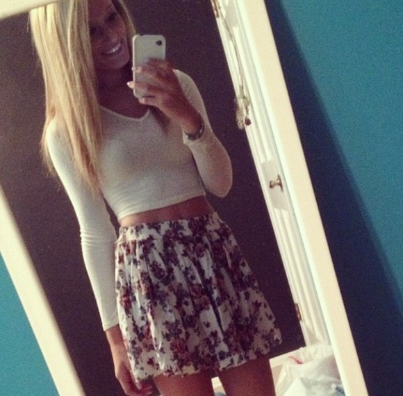 skirt floral shirt circle skirt white floral skirts brandy melville crop tops