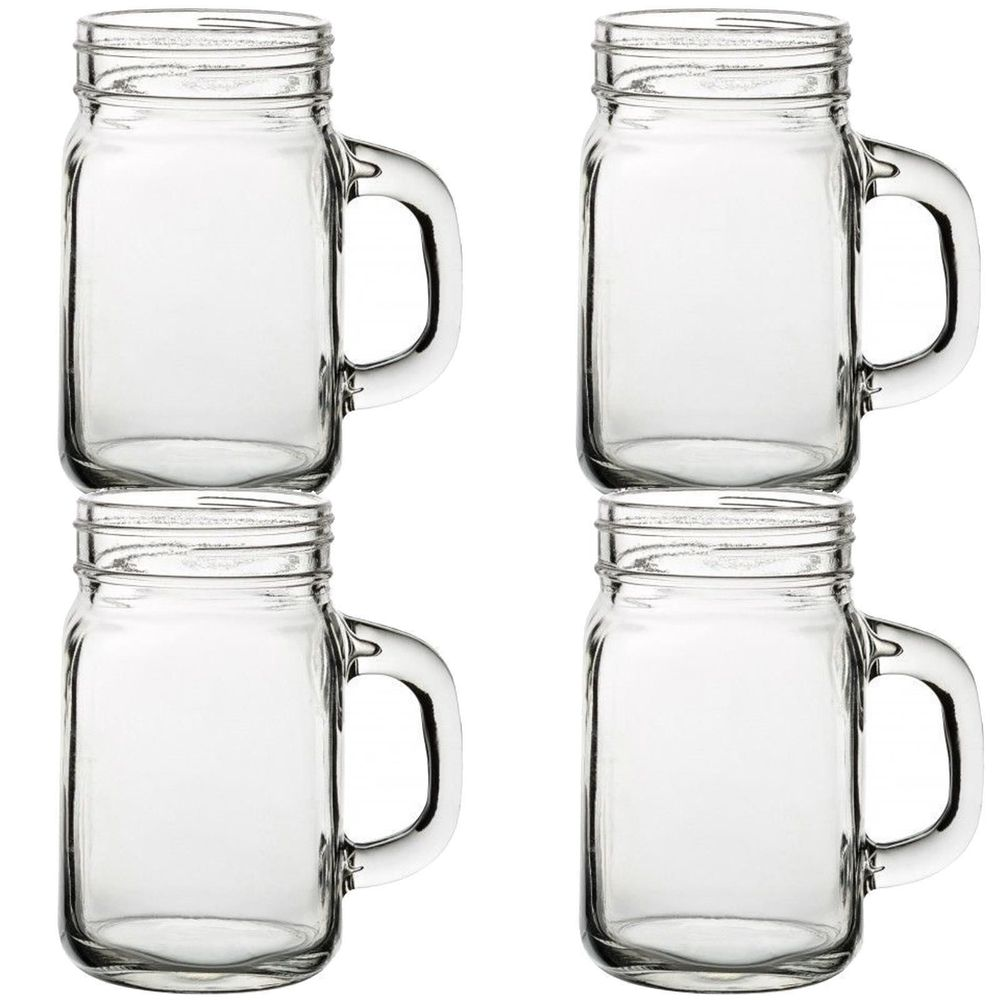 4 Pint Size Vintage Mason Drinking Jars Handled Retro Summer Cocktails BBQ Party