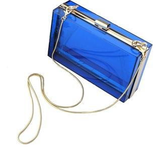 bag clutch box transparent  bag box clutch blue bag